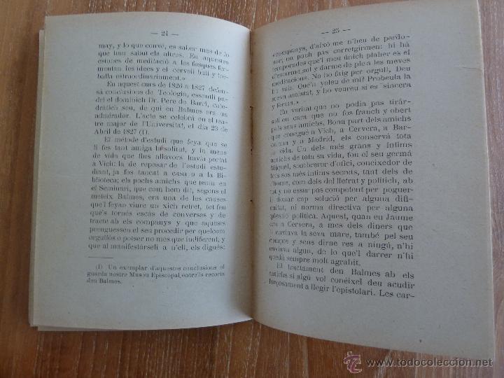 Libros antiguos: f 3162 JAUME BALMES URPIA - BIOGRAFIA - MANUEL BRUNET 1910 - Foto 2 - 43670500
