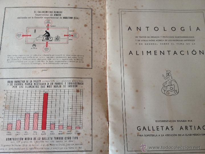 Libros antiguos: Antologia sobre alimentacion reunida por Galletas Artiach. Comunicación a los señores medicos. - Foto 4 - 43723026
