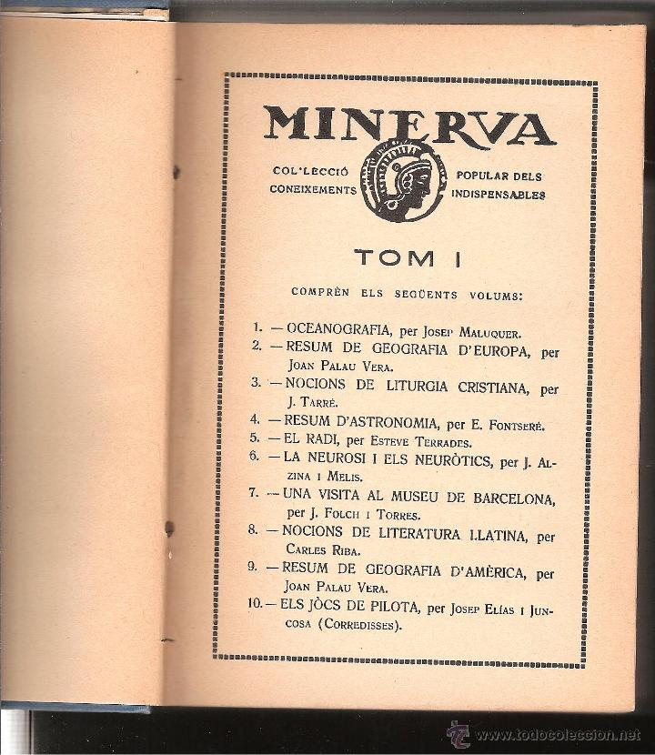Libros antiguos: MINERVA-COL.LECCIÓ POPULAR DELS CONEIXEMENTS INDISPENSABLES TOM 1 1a.SERIE DEL NUM 1 AL 10 - Foto 2 - 43748507