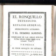 Libros antiguos: EL RONQUILLO DEFENDIDO. JOFEPH MAÑER / JOSEPH MANER. TOMO I. MADRID. 1740. LEER. Lote 43837975