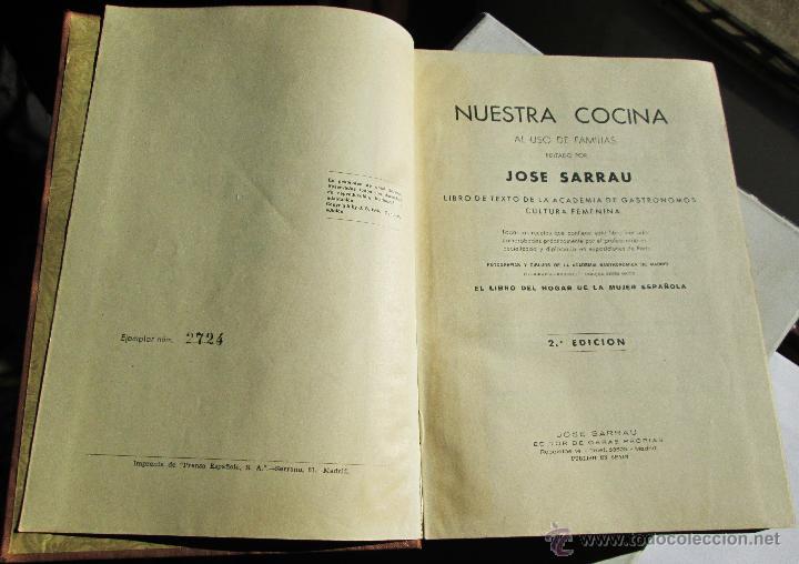 Libros antiguos: NUESTRA COCINA- J. SARRAÚ - Foto 3 - 43922457