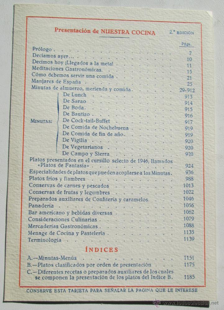 Libros antiguos: NUESTRA COCINA- J. SARRAÚ - Foto 5 - 43922457
