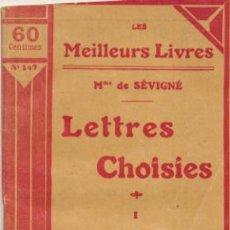 Libros antiguos: LETTRES CHOISIES I. MME DE SEVIGNÉ. . Lote 43958105