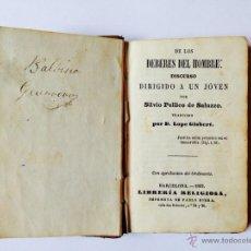 Libros antiguos: DE LOS DEBERES DEL HOMBRE: DISCURSO DIRIGIDO A UN JOVEN. Lote 43971188