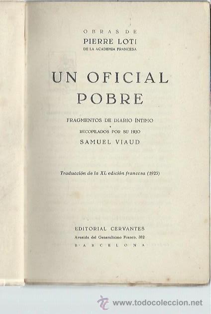 Libros antiguos: UN OFICIAL POBRE, RECOPILACIÓN DE SAMUEL VIAUD, HIJO DE PIERRE LOTI, CERVANTES BARCELONA 1925 - Foto 2 - 43983140