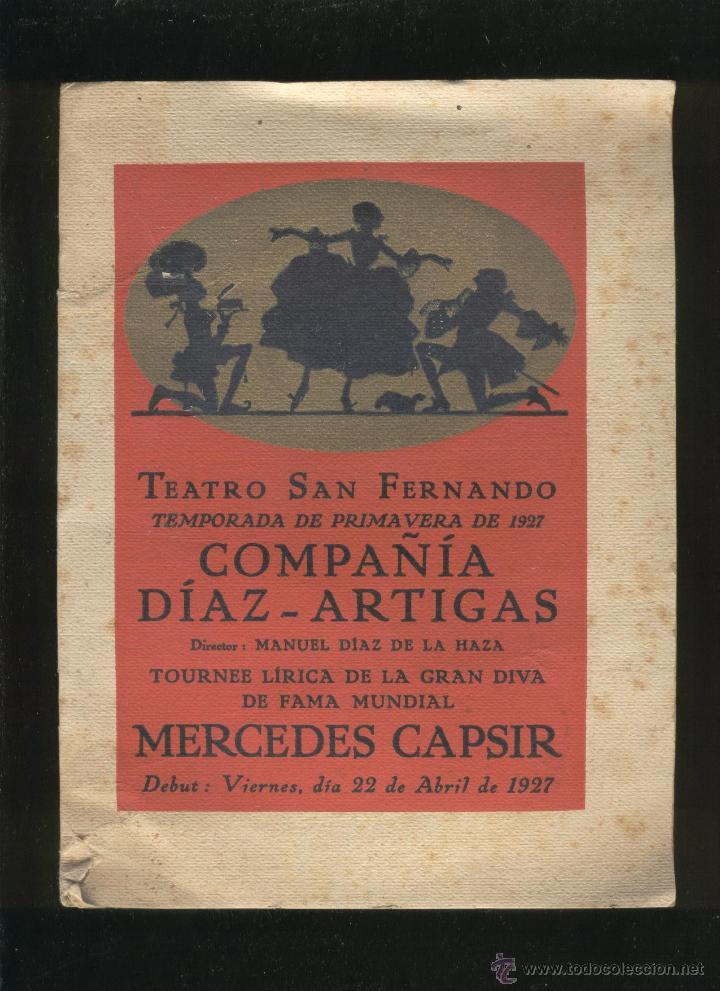 PROGRAMA DEL TEATRO SAN FERNANDO. COMPAÑÍA DÍAZ-ARTIGAS AÑO 1927 (Libros Antiguos, Raros y Curiosos - Bellas artes, ocio y coleccionismo - Otros)