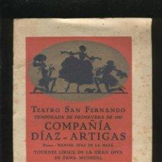 Libros antiguos: PROGRAMA DEL TEATRO SAN FERNANDO. COMPAÑÍA DÍAZ-ARTIGAS AÑO 1927. Lote 43985846