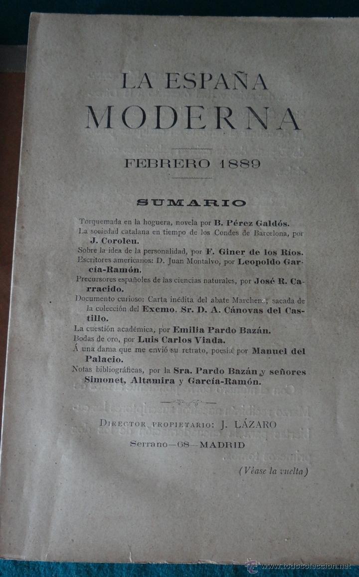 Libros antiguos: LA ESPAÑA MODERNA - ENERO 1889 - PUBLICACION LITERARIA CIENTIFICA Y ARTISTICA - Foto 3 - 44167318