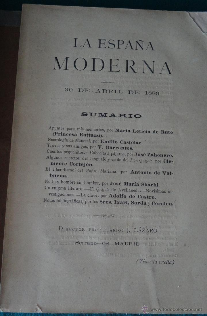 Libros antiguos: LA ESPAÑA MODERNA - ENERO 1889 - PUBLICACION LITERARIA CIENTIFICA Y ARTISTICA - Foto 4 - 44167318