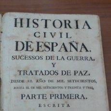 Libros antiguos: HISTORIA CIVIL DE ESPAÑA, SUCESSOS DE LA GUERRA, Y TRATADOS DE PAZ... PARTE PRIMERA. BELANDO. 1740. Lote 44360662