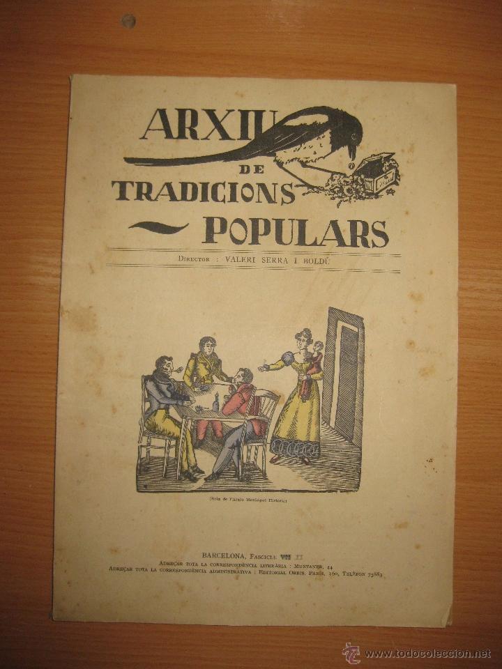 ARXIU DE TRADICIONS POPULARS. VALERI SERRA I BOLDU. BARCELONA FASCICLE II. (Libros Antiguos, Raros y Curiosos - Bellas artes, ocio y coleccionismo - Otros)