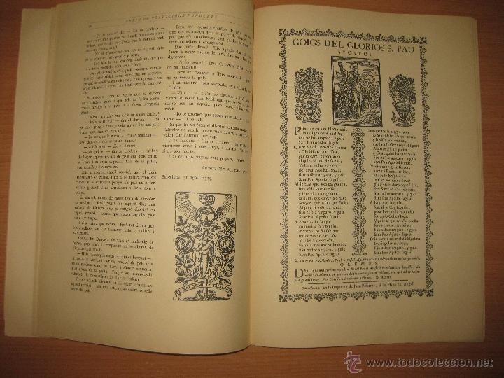 Libros antiguos: ARXIU DE TRADICIONS POPULARS. VALERI SERRA I BOLDU. BARCELONA FASCICLE II. - Foto 4 - 44853504