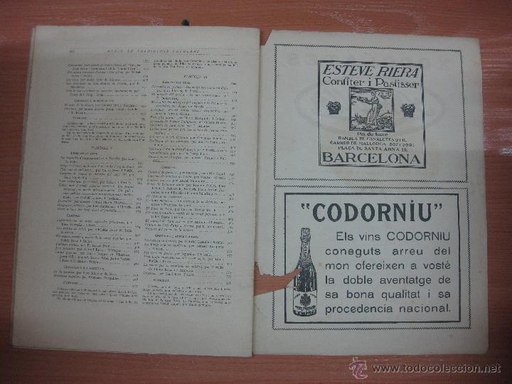 Libros antiguos: ARXIU DE TRADICIONS POPULARS. VALERI SERRA I BOLDU. BARCELONA FASCICLE VI. - Foto 6 - 44853533