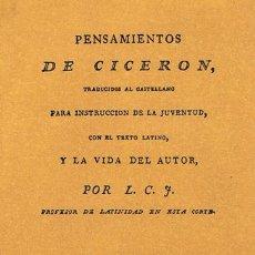 Libros antiguos: PENSAMIENTOS DE CICERON TRADUCIDOS AL CASTELLANO PARA INSTRUCCIÓN DE LA JUVENTUD, CON EL TEXTO LATIN. Lote 45106993