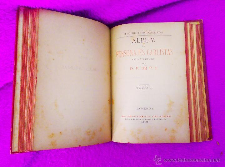 Libros antiguos: ALBUM DE PERSONAJES CARLISTAS, D. F DE P. O. 1887-1890 - Foto 4 - 45290204