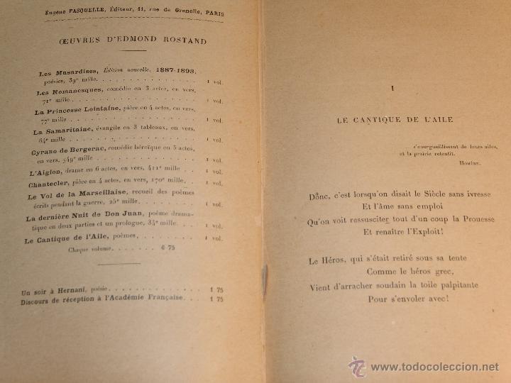Libros antiguos: LIBRO: LE CANTIQUE DE LAILE.EDMOND ROSTAND.POÈMES. - Foto 3 - 45356684