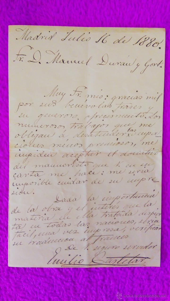CARTA MANUSCRITA DE EMILIO CASTELAR (FIRMADO), D. MANUEL DURAN Y CORT, RARO 1880 (Libros Antiguos, Raros y Curiosos - Historia - Otros)