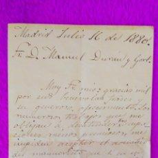 Libros antiguos: CARTA MANUSCRITA DE EMILIO CASTELAR (FIRMADO), D. MANUEL DURAN Y CORT, RARO 1880. Lote 45684827