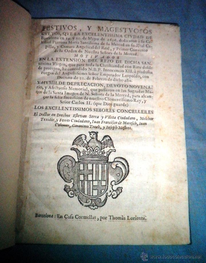FESTIVOS Y MAGESTUOSOS CULTOS - AÑO 1686 - BARCELONA - MUY RARO. (Libros Antiguos, Raros y Curiosos - Historia - Otros)