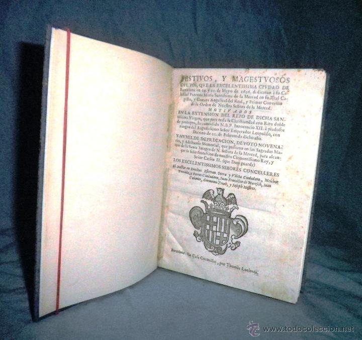 Libros antiguos: FESTIVOS Y MAGESTUOSOS CULTOS - AÑO 1686 - BARCELONA - MUY RARO. - Foto 2 - 45800754
