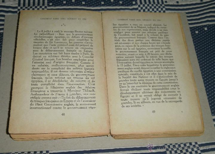 Libros antiguos: Libro. Comment Paris sera detruit en 1936. Major von Helders, 1933, Editions Albert - Foto 4 - 45805478