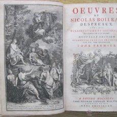 Libros antiguos: OEUVRES DE NICOLAS BOILEAU, 2 TOMOS,1746, MAIZEAUX. CON GRABADOS. Lote 45930994