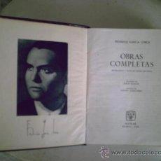 Libros antiguos: OBRAS COMPLETAS FEDERICO GARCIA LORCA AGUILAR 1960 MADRID. Lote 26151903