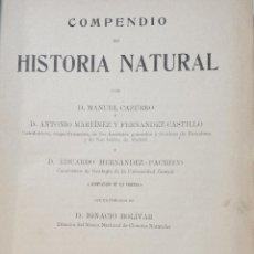 Libros antiguos: COMPENDIO DE HISTORIA NATURAL. DE MANUEL CAZURRO. IMPRESO EN MADRID. AÑO 1916.. Lote 46204768