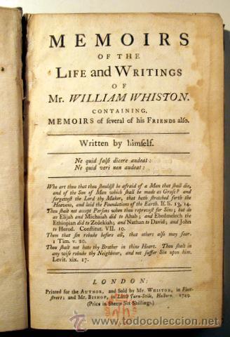 WHISTON, WILLIAM - MEMOIRS OF THE LIFE AND WRITINGS OF MR. WILLIAM WHISTON - LONDON, 1749 (Libros Antiguos, Raros y Curiosos - Literatura - Otros)