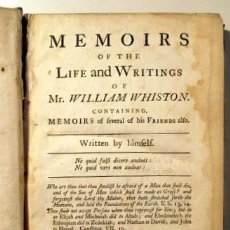 Libri antichi: WHISTON, WILLIAM - MEMOIRS OF THE LIFE AND WRITINGS OF MR. WILLIAM WHISTON - LONDON, 1749. Lote 46326513