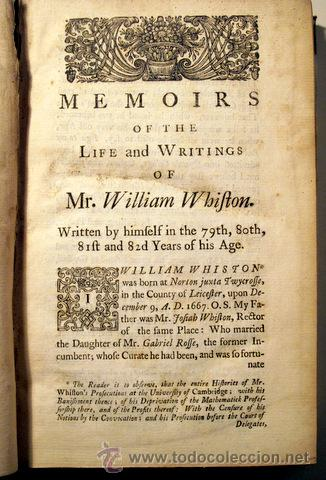 Libros antiguos: WHISTON, William - MEMOIRS OF THE LIFE AND WRITINGS OF MR. WILLIAM WHISTON - London, 1749 - Foto 2 - 46326513