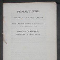 Libros antiguos: REPRESENTACIONES QUE EN 6 Y 11 DE NOVIEMBRE DE 1813 DIRIGIÓ A LAS CÓRTES ORDINARIAS EL TENIENTE GENE. Lote 46369728
