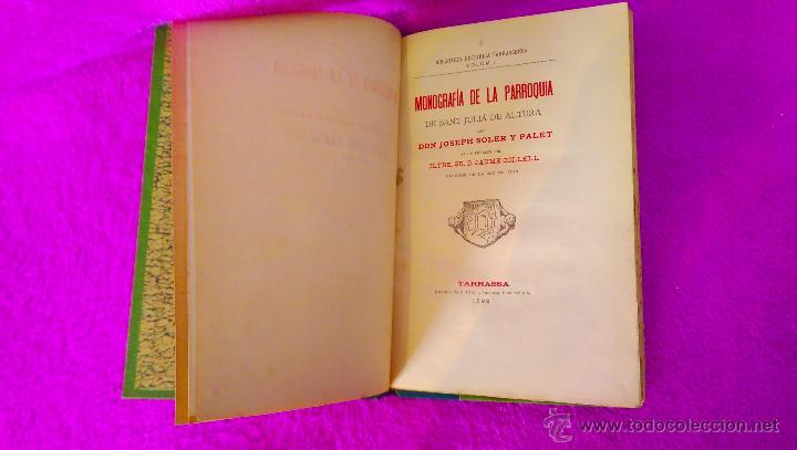 Libros antiguos: TERRASSA, BIBLIOTECA HISTORICA TERRASSENCA, D. JOSEPH SOLER I PALET, IV VOLUMS, 1893, 1900 - Foto 2 - 46482038