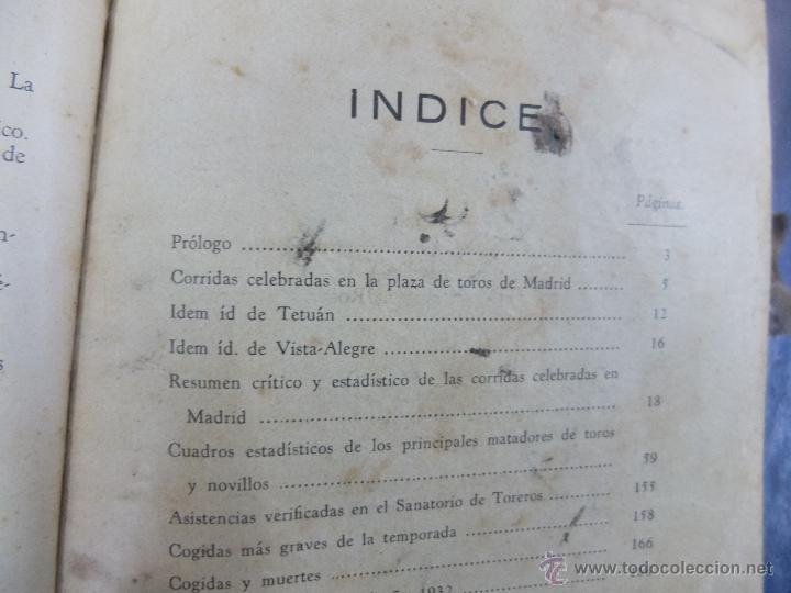Libros antiguos: CURIOSO LIBRO INFORMATIVO DE LAS CORRIDAS DE TOROS DE MADRID ,TETUAN VISTA ALEGRE,EXTRANJERO-1932 - Foto 8 - 46896288