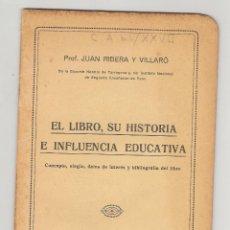 Libros antiguos: TARRAGONA - REUS - 1928 - EL LIBRO, SU HISTORIA E INFLUENCIA EDUCATIVA.. Lote 46958224