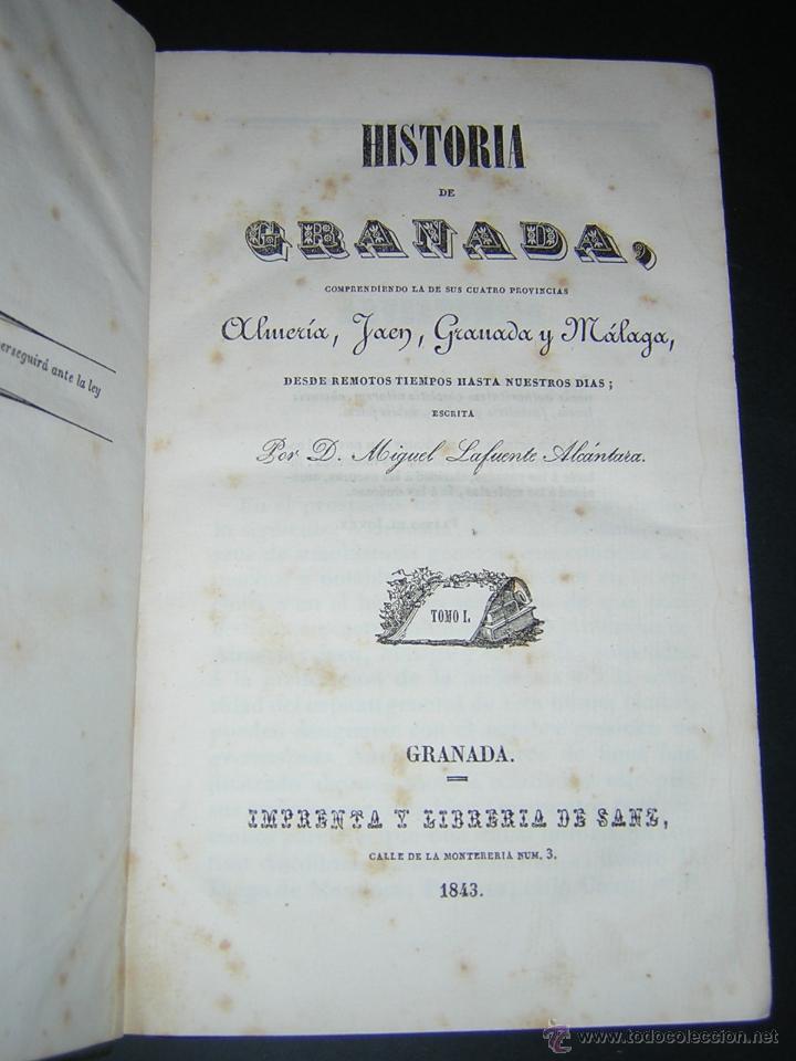 Libros antiguos: 1843 - LAFUENTE ALCANTARA - HISTORIA DE GRANADA TOMO I - Foto 2 - 46987845