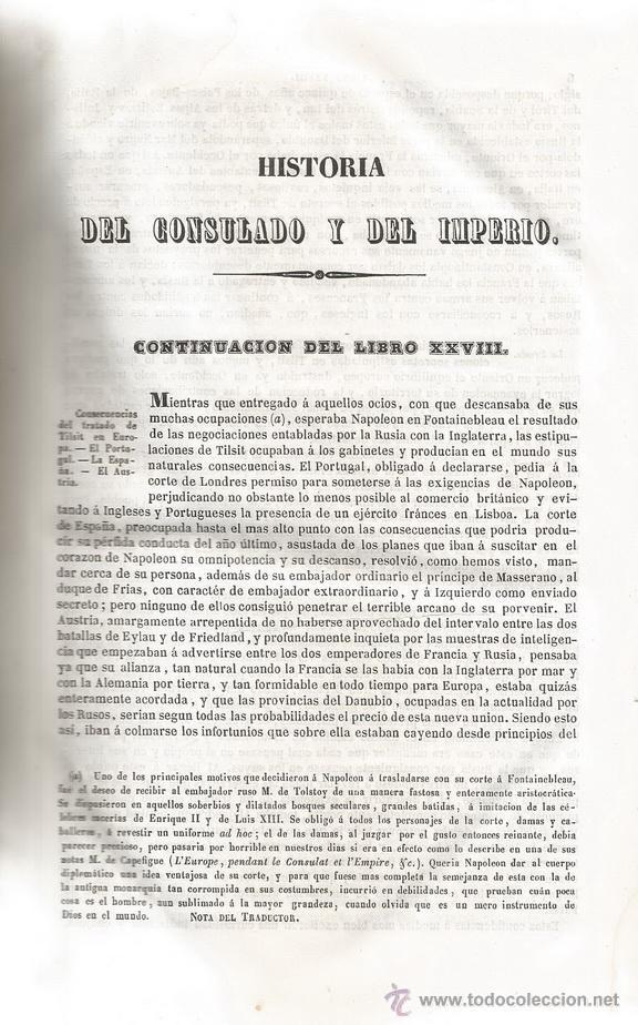 Libros antiguos: M. A. THIERS. Historia del Consulado y del Imperio. Tomo IV. RM67682. - Foto 2 - 47023797