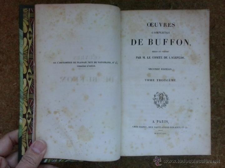 Libros antiguos: 3 volúmenes de Oeuvres completes de Buffon (1819) / Comte de Lacepède. Rara edición.. - Foto 9 - 47112943
