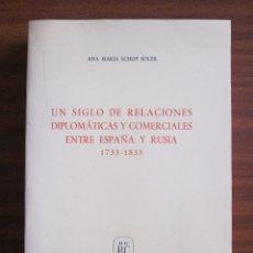 Libros antiguos: UN SIGLO DE RELACIONES DIPLOMÁTICAS Y COMERCIALES ENTRE ESPAÑA Y RUSIA 1733-1833. Lote 47133745