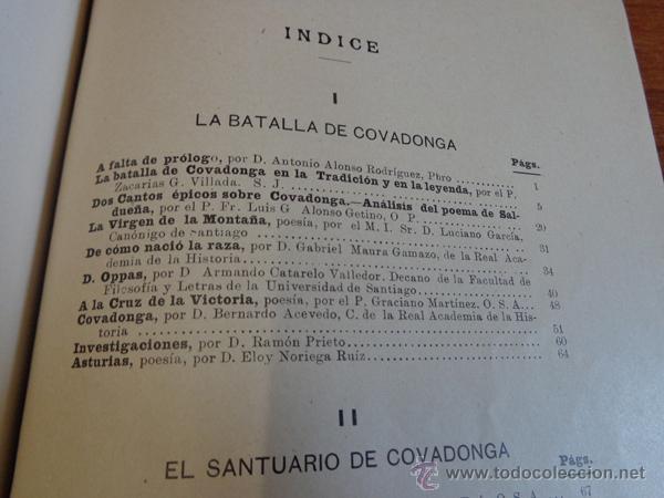 Libros antiguos: BATALLA Y SANTUARIO DE COVADONGA. TRADICION, MONUMETO, HISTORIA. - Foto 6 - 47247856