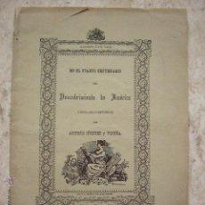Libros antiguos: DESCUBRIMIENTO DE AMERICA. ANTONIO IÑIGUEZ Y VICUÑA- SANTIAGO. CHILE. 1892. 54 PP.. Lote 47320329