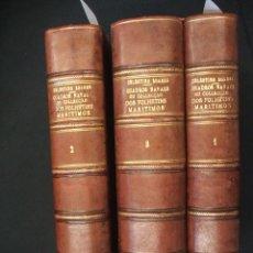 Libros antiguos: 1861 - 3 VOLUMENES - QUADROS NAVAES OU COLLECÇAO DOS FOLHETINS MARITIMOS - PEDRO CELESTINO SOARES - . Lote 47323996