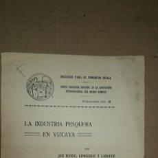 Libros antiguos: 1936 - LA INDUSTRIA PESQUERA EN VIZCAYA - GANDÁSEGUI Y LARRAURI, JOSÉ MANUEL. Lote 47577644