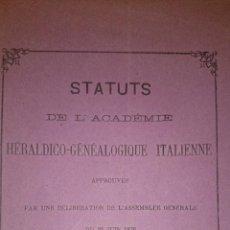 Libros antiguos: 1876 - ESTATUTOS ACADEMIA HERÁLDICO GENEALÓGICA ITALIANA. Lote 47629244