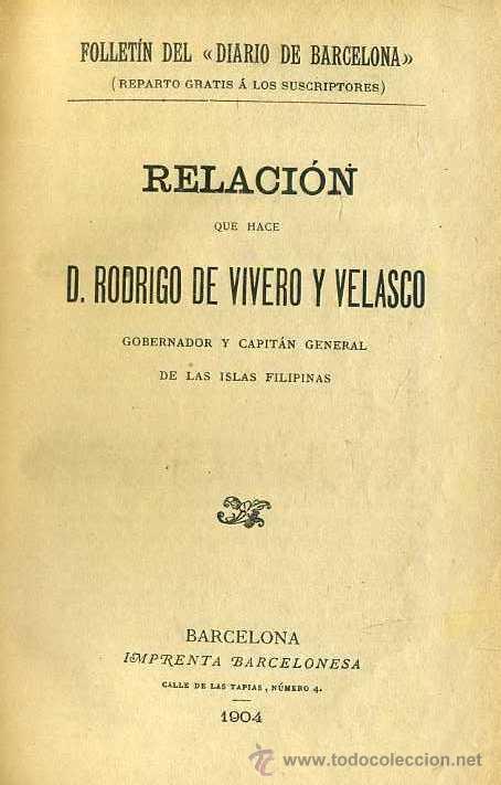 R. DE VIVERO Y VELASCO : RELACIÓN DE LAS ISLAS FILIPINAS / FERNÁN CABALLERO : TRES NOVELAS (1904) (Libros Antiguos, Raros y Curiosos - Historia - Otros)