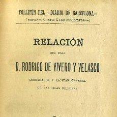 Libros antiguos: R. DE VIVERO Y VELASCO : RELACIÓN DE LAS ISLAS FILIPINAS / FERNÁN CABALLERO : TRES NOVELAS (1904). Lote 47648387