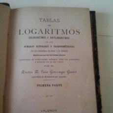 Libros antiguos: VALENCIA AÑO 1884 - IMP. NICASIO RIUS - LIBRO TABLAS LOGARITMICAS CON CUATRO DECIMALES - . Lote 47718465