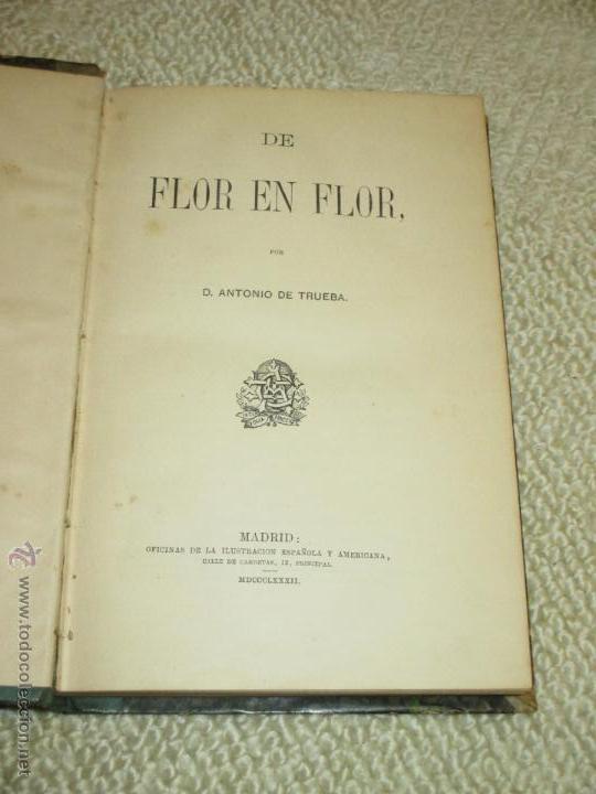 Libros antiguos: De flor en flor, por Antonio de Trueba, 1882, Primera edición, País Vasco - Foto 3 - 47925347