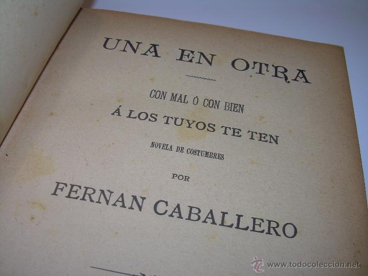 LIBRO TAPAS DE PIEL.....UNA EN OTRA....FENAN CABALLERO.....AÑO..1.902 (Libros Antiguos, Raros y Curiosos - Literatura - Otros)