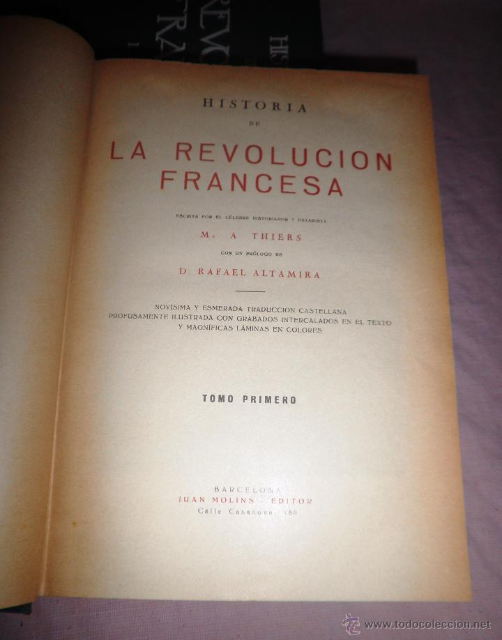 Libros antiguos: HISTORIA DE LA REVOLUCION FRANCESA - THIERS - AÑO 1928 - BELLAS LAMINAS. - Foto 3 - 48055604